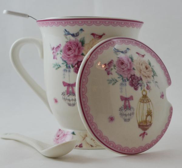 Cana cu infuzor realizata din ceramica pictata – Design Trandafiri si pasari 1