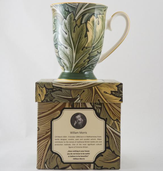 Cana realizata din ceramica in cutie cadou – Design cu frunze 1