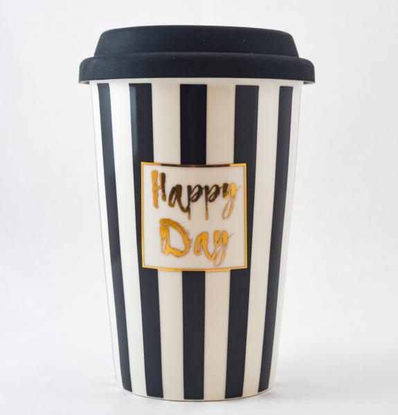 Pahar ceramica cu capac silicon- Happy Day 0