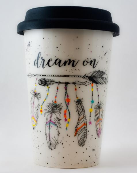 Pahar ceramica cu capac silicon- Dream On 0