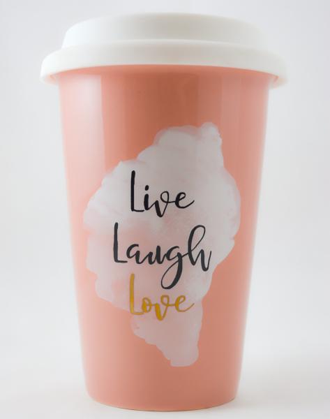 Pahar ceramica cu capac silicon- Live Laugh Love 0