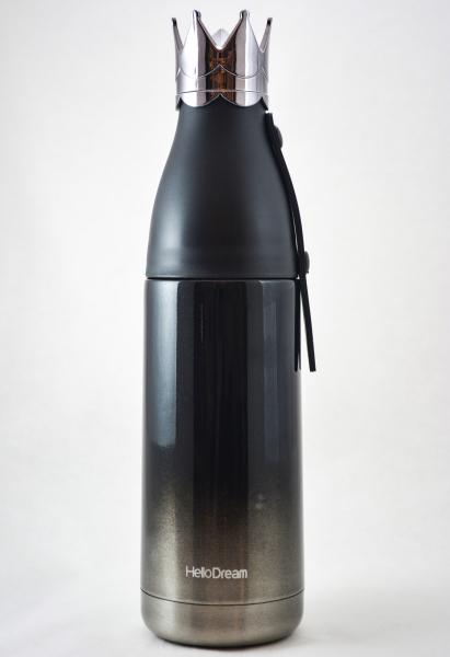 Sticla termos cu capac design coroana negru 1