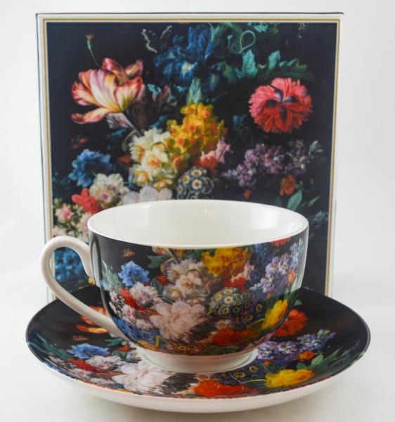 Ceasca cu farfurie realizata din ceramica in cutie decorativa – Design floral 0