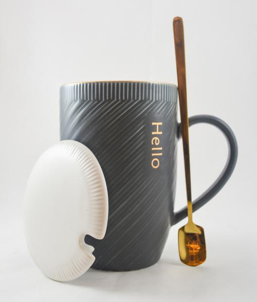 Cana cu capac realizate din ceramica si cu lingurita din inox- Hello [0]