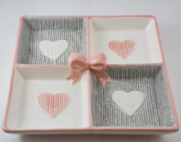 Platou din ceramica cu 4 compartimente- Love 0