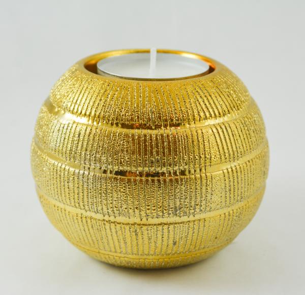 Candela realizata din sticla in forma de glob – Auriu 0