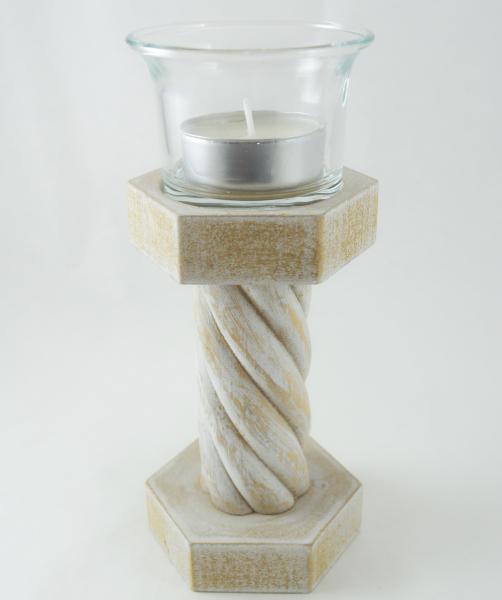 Suport pentru lumanare realizat din lemn – Design rustic 15.5CM 0