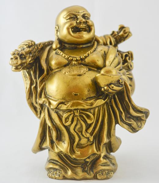 Buddha auriu cu dragon si pepita cu monede 0