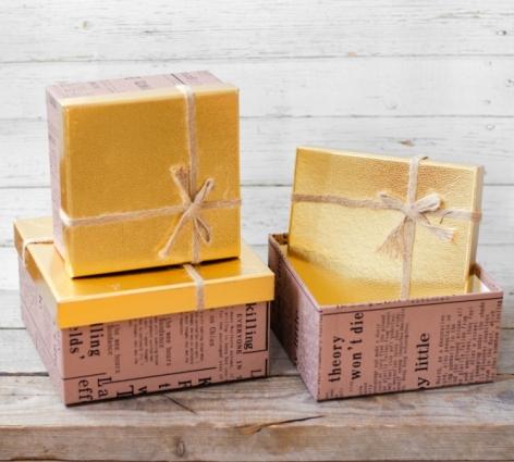 Set cutii cadou model ziar auriu 0