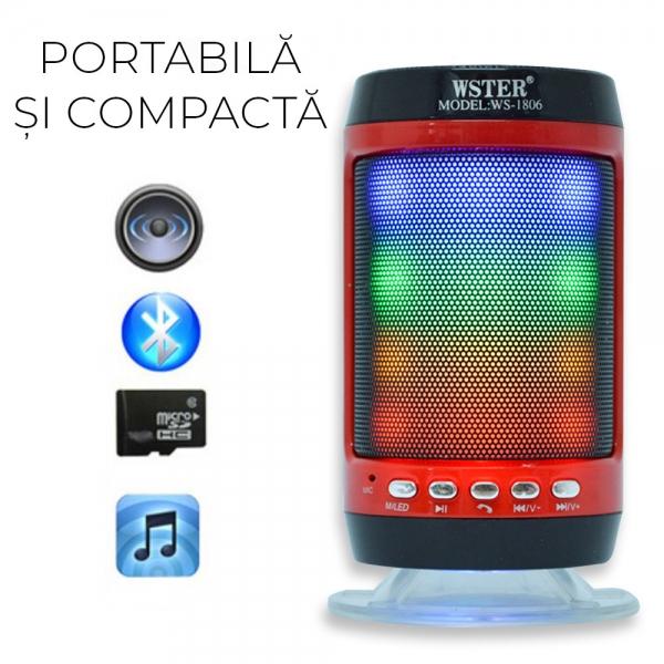 Boxa Bluetooth Portabila - 12 cm - Cu LED 1