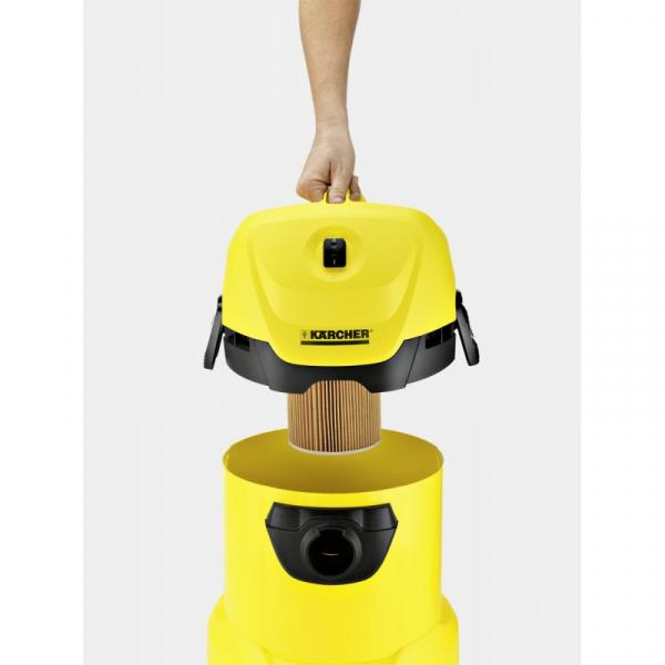 Aspirator multifunctional Karcher WD 3, Aspirare umeda si uscata, 17 l, Furtun 2 m, 1000 W, Sac filtru din hartie, Functie de suflare 3