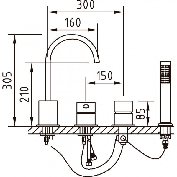 Baterie pentru cada MIKURA 4 piese (montaj pe cada) 1