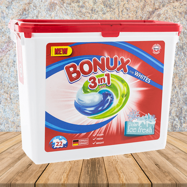 Bonux detergent capsule 22x24,6g ICE FRESH WHITE - pentru haine albe 0