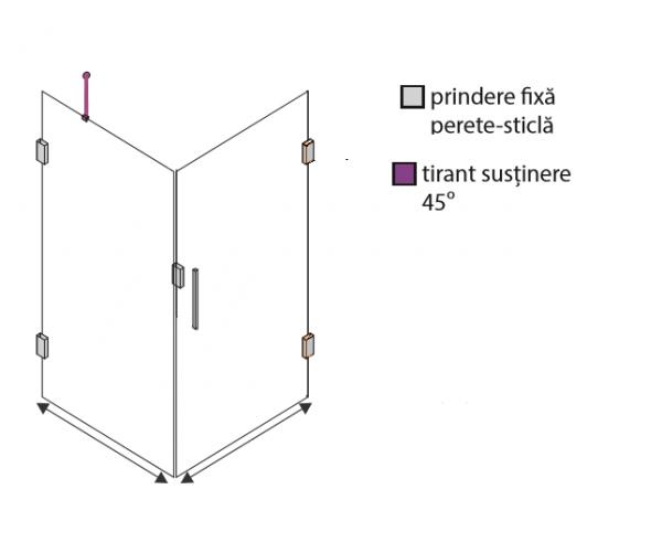 Cabină de duș Alux 100x100 cu o ușă - sticlă securizată 2
