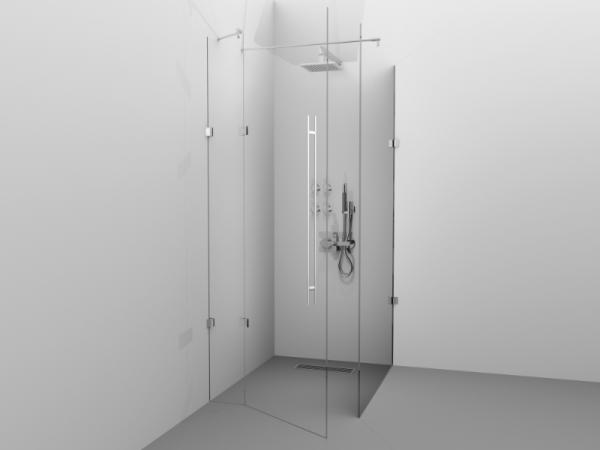 Cabină de duș Alux 100x100 cu o ușă - sticlă securizată 0