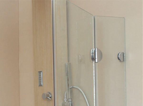 Cabină de duș Alux patrată 90x90 cu 2 uși - sticlă securizată 2