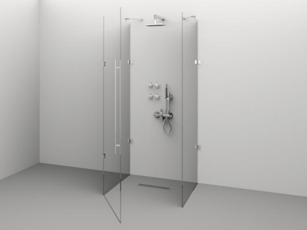 Cabină de duș Alux Premium de tip U 100x80 - sticlă securizată 0