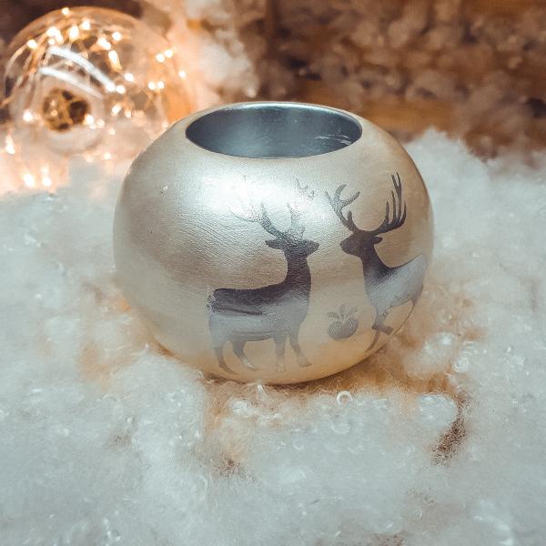 Candela in forma de glob realizat din ceramica – Design cu reni 0