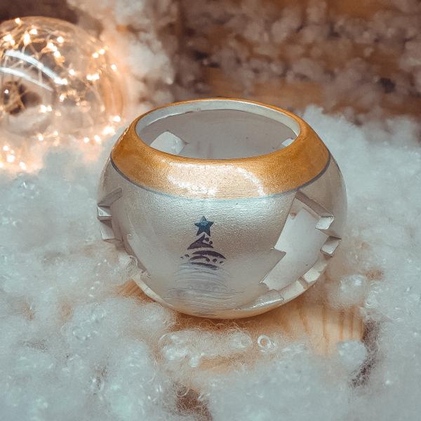 Candela in forma de glob realizata din ceramica – Design cu brazi 0