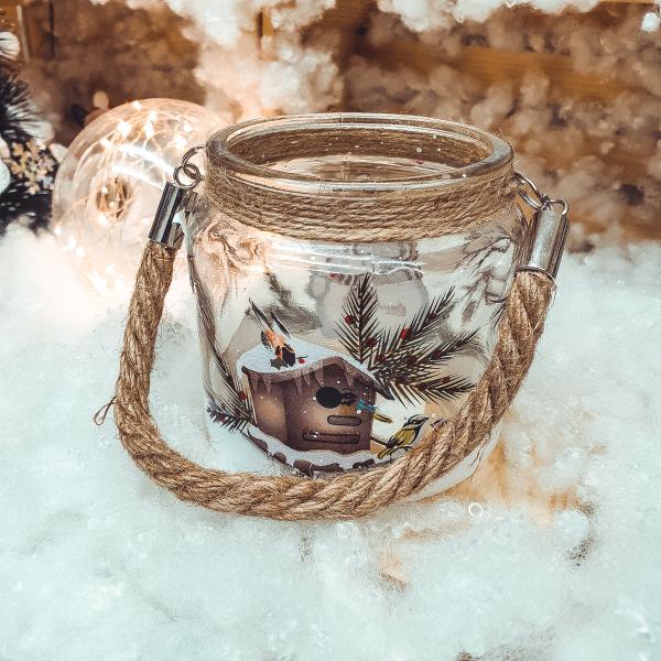 Candela realizata din sticla cu maner – Design cu om de zapada 0