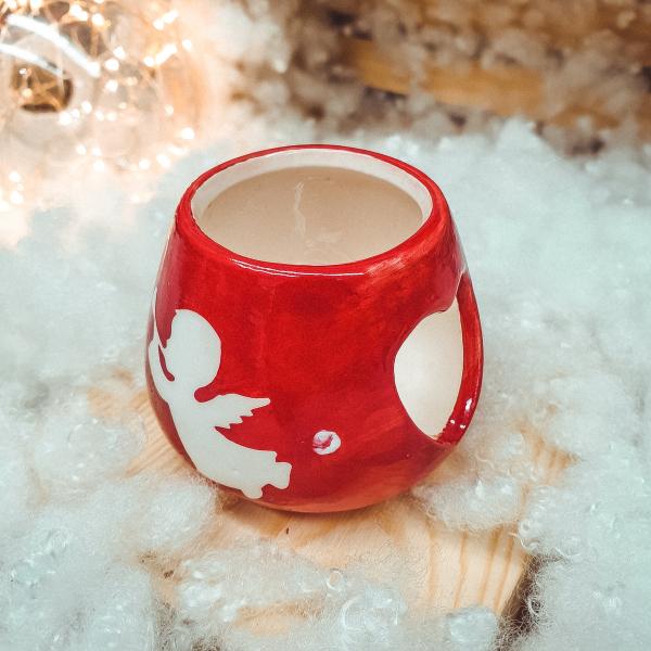 Candela rotunda realizata din ceramica – Design Ingeras 0