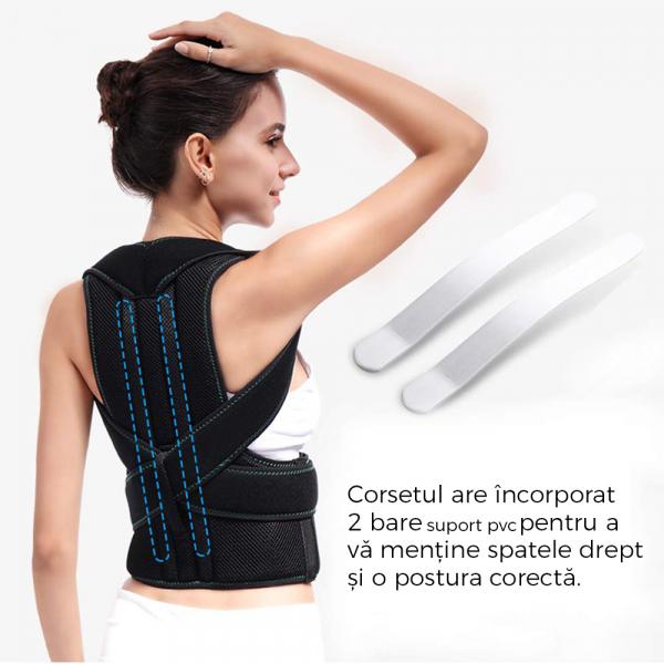 Corector de postură cu 2 x Bare Suport, ameliorează durerile de spate, îmbunătățește postura 7