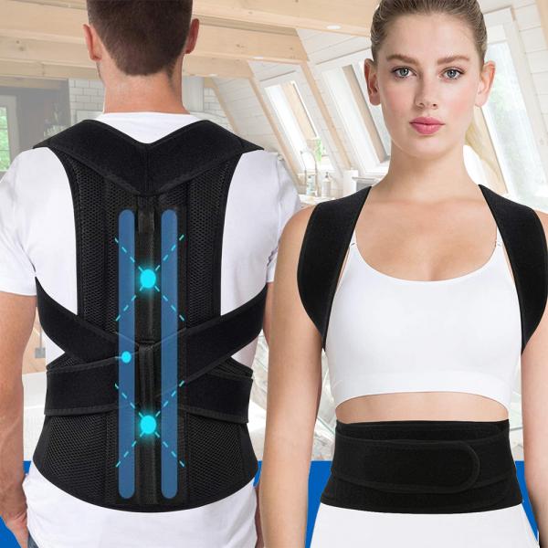 Corector de postură cu 2 x Bare Suport, ameliorează durerile de spate, îmbunătățește postura 0