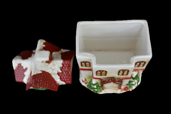 Cutie prajituri tip casuta rosie din ceramica de Craciun 3