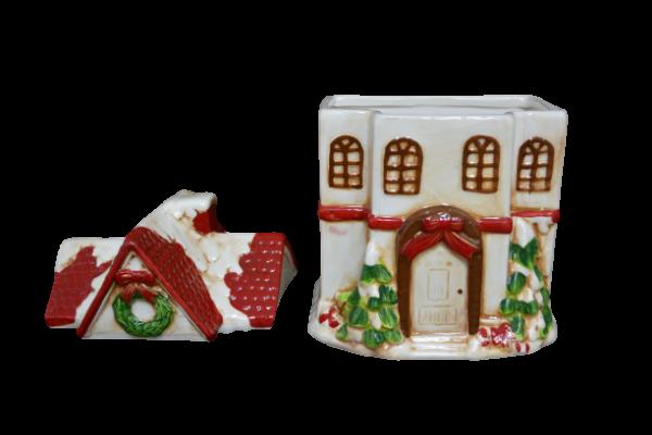 Cutie prajituri tip casuta rosie din ceramica de Craciun 2