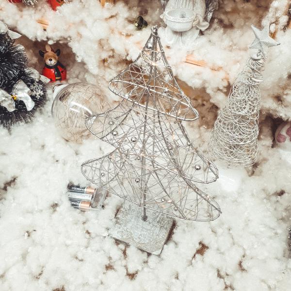 Decor masa brad cu 20 de leduri – Argintiu 0