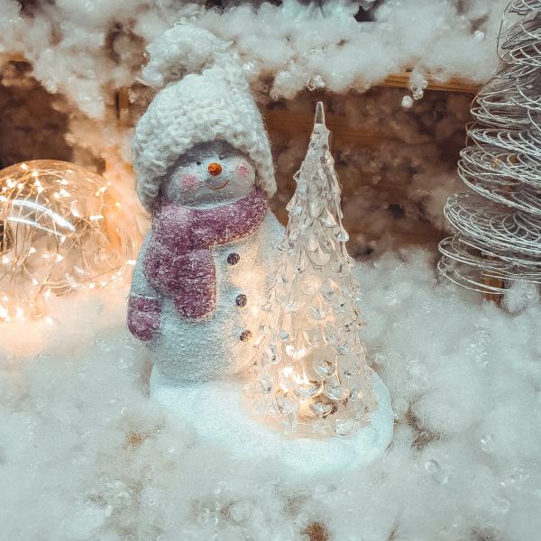Decoratiune realizata din ceramica. plastic si material textil cu lumina led – Om de zapada cu brad 0