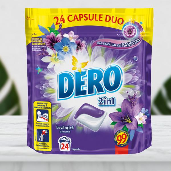 Detergent automat capsule Dero Duo Caps Lavanda, 24 spalari, 24buc 0