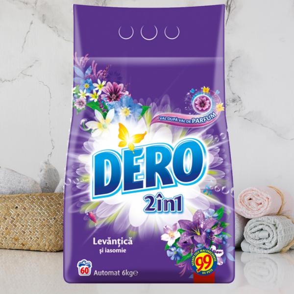 Detergent automat pudra Dero 2in1 Lavanda, 60 spalari, 6 kg 0