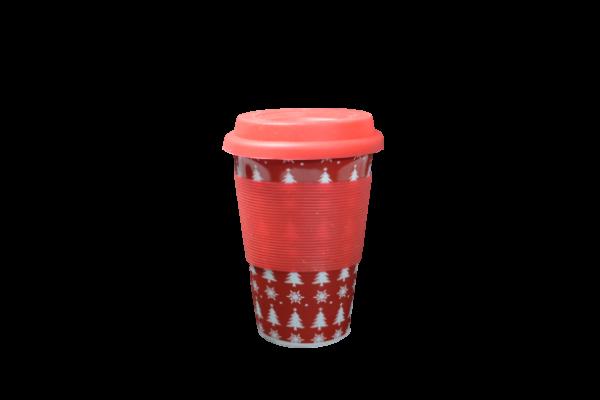 Pahar ceramica cu capac silicon - Design craciun 1