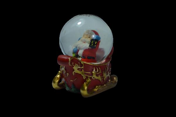 Glob cu zapada - Design Mos Craciun pe sanie - 4 cm 1