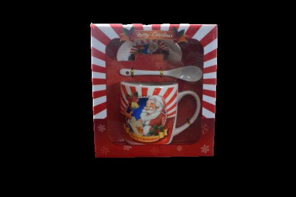 Cana de craciun cu farfurie si lingurita realizata din ceramica – Design Craciun [0]