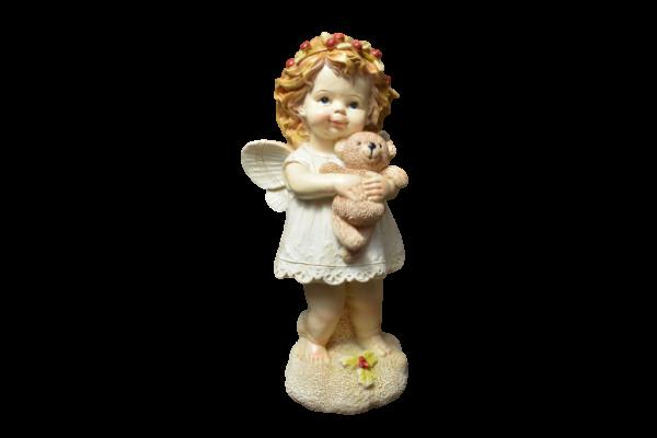 Figurina realizata din rasina – Design inger cu ursulet 1