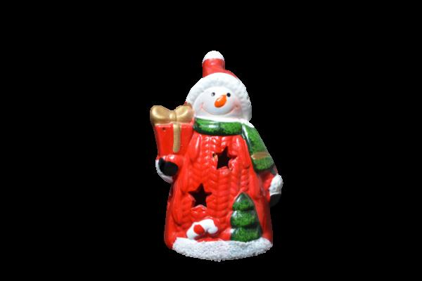 Figurina decorativa cu led realizata din ceramica in forma de om de zapada 1