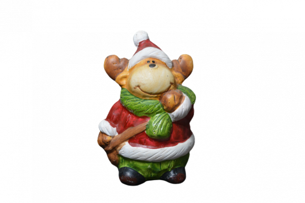Figurina decorativa realizata din ceramica in forma de ren – Design cu caciula [0]