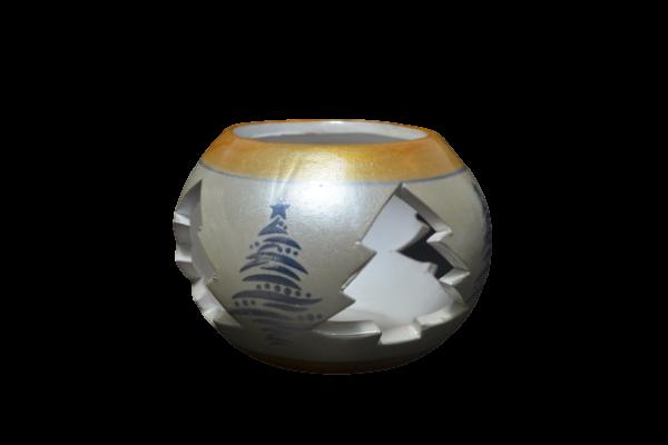 Candela in forma de glob realizata din ceramica – Design cu brazi 1