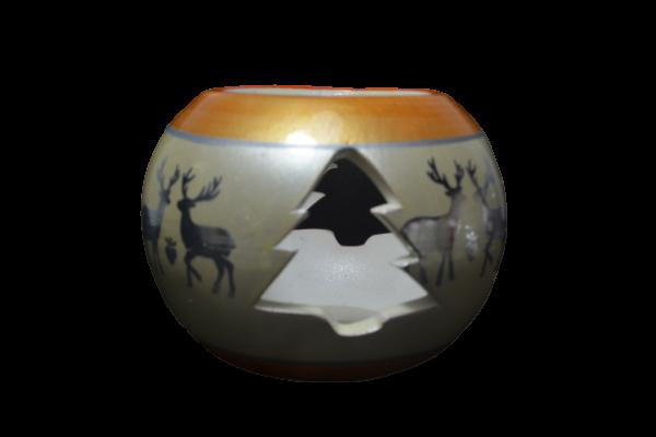 Candela in forma de glob realizata din ceramica – Design cu reni 2