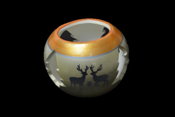 Candela in forma de glob realizata din ceramica – Design cu reni 1