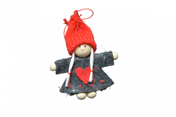 Decoratiune de agatat pentru Craciun realizat din pasla si material textil – Copil cu caciula – 3 modele [0]