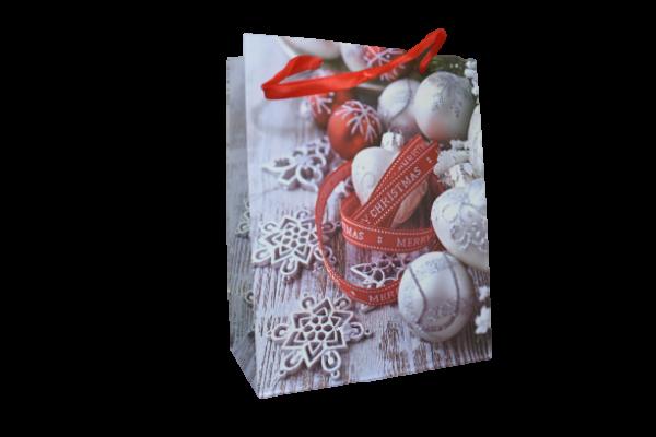 """Punga pentru cadouri – Design cu globuri si inscriptia """"Merry Christmas"""" 0"""