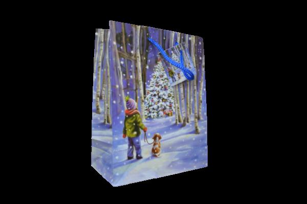 Punga pentru cadouri – Design cu peisaj craciun- Copil si catel 0