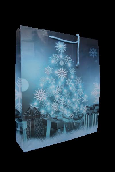Punga pentru cadouri mare - Design cu fulgi si cadouri 0