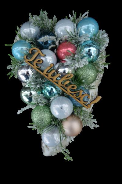 Decoratiune craciun in ghiveci de piatra - Mesaj Te Iubesc 1