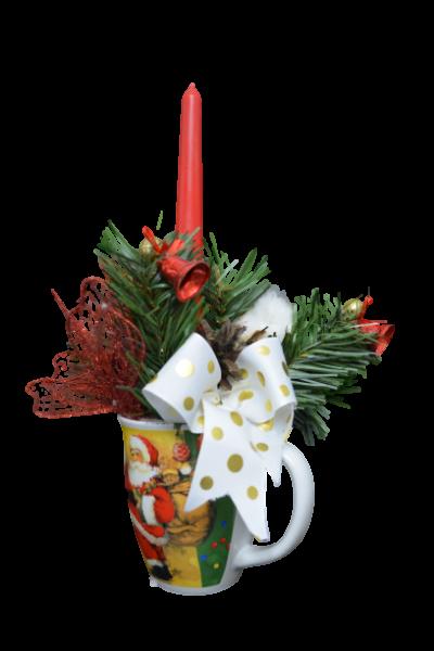 Decoratiune craciun in cana cu lumanare - Model 2 1