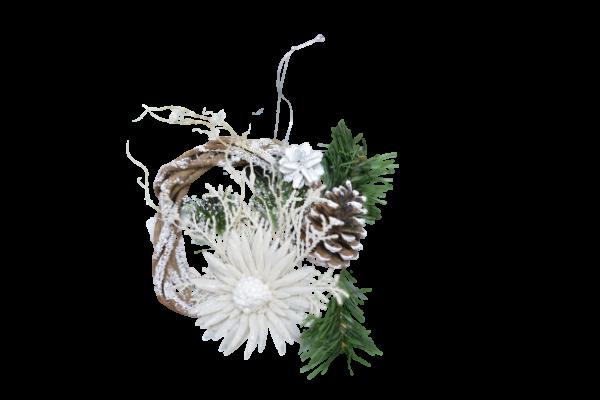Decoratiune din rachita - Coroana craciun cu agatator 2