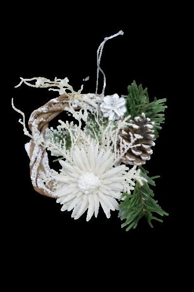 Decoratiune din rachita - Coroana craciun cu agatator 1